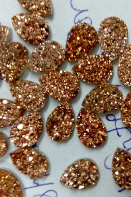 Natural 10x12mm 25 Pieces Rose Gold Color Coating Flat Druzy Pear Best Top Rose Gold Color Gemstone Lot
