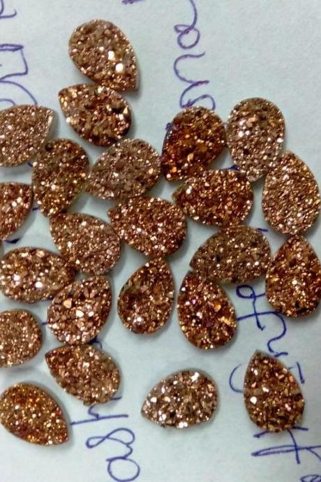 Natural 10x12mm 50 Pieces Rose Gold Color Coating Flat Druzy Pear Best Top Rose Gold Color Gemstone Lot