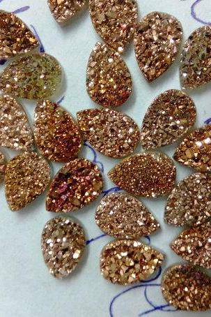 Natural 10x14mm 25 Pieces Rose Gold Color Coating Flat Druzy Pear Best Top Rose Gold Color Gemstone Lot