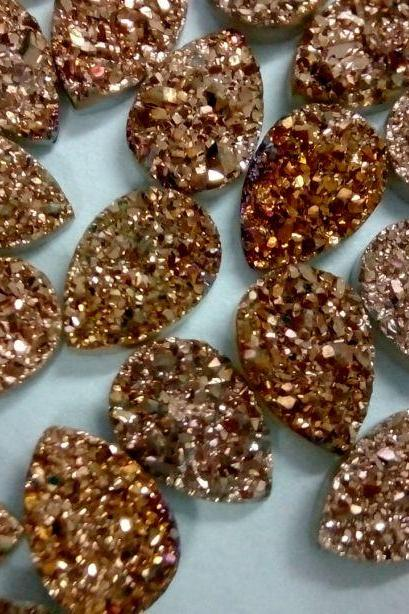 Natural 18x13mm 25 Pieces Rose Gold Color Coating Flat Druzy Pear Best Top Rose Gold Color Gemstone Lot