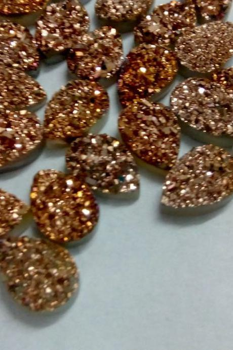 Natural 15x20mm 5 Pieces Rose Gold Color Coating Flat Druzy Pear Best Top Rose Gold Color Gemstone Lot