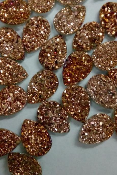 Natural 15x20mm 10 Pieces Rose Gold Color Coating Flat Druzy Pear Best Top Rose Gold Color Gemstone Lot