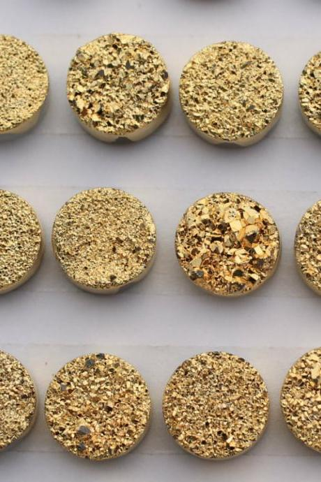 Natural 12mm 50 Pieces Gold Color Coating Flat Druzy Round Best Top Gold Color Gemstone Lot