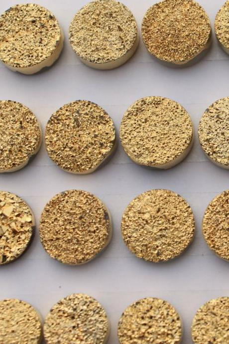 Natural 16mm 10 Pieces Gold Color Coating Flat Druzy Round Best Top Gold Color Gemstone Lot