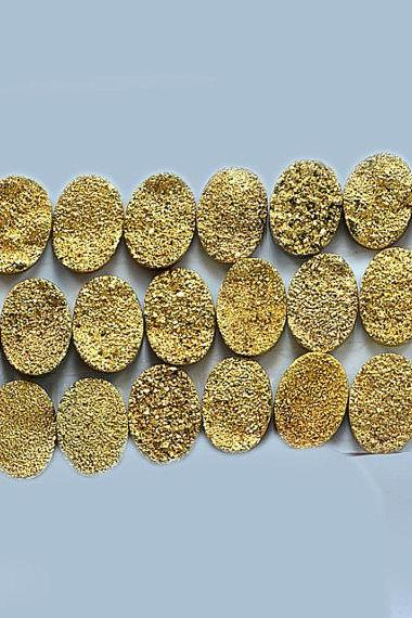 Natural 8x6mm,7x9mm,8x10mm 10 Pieces Gold Color Coating Flat Druzy Oval Best Top Gold Color Gemstone Lot