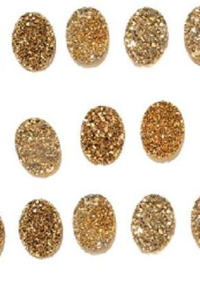Natural 8x6mm,7x9mm,8x10mm 100 Pieces Gold Color Coating Flat Druzy Oval Best Top Gold Color Gemstone Lot
