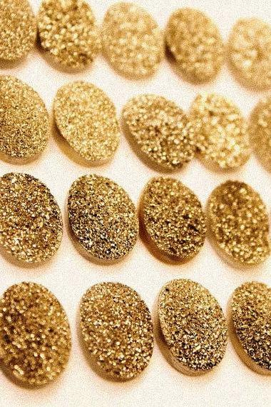 Natural 16x12mm 25 Pieces Gold Color Coating Flat Druzy Oval Best Top Gold Color Gemstone Lot