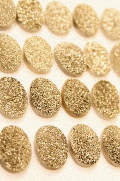 Natural 16x12mm 50 Pieces Gold Color Coating Flat Druzy Oval Best Top Gold Color Gemstone Lot