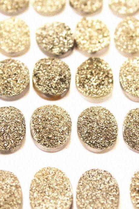 Natural 18x13mm 5 Pieces Gold Color Coating Flat Druzy Oval Best Top Gold Color Gemstone Lot