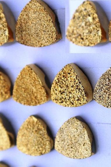 Natural 9mm 100 Pieces Gold Color Coating Flat Druzy Trillion Best Top Gold Color Gemstone Lot