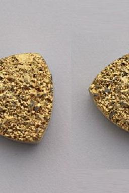 Natural 10mm 25 Pieces Gold Color Coating Flat Druzy Trillion Best Top Gold Color Gemstone Lot