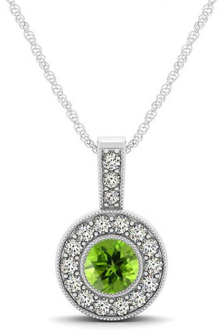 925 Sterling Silver Pendant With Genuine Natural Peridot 6mm Round Cut And White Topaz Gemstone Pendant