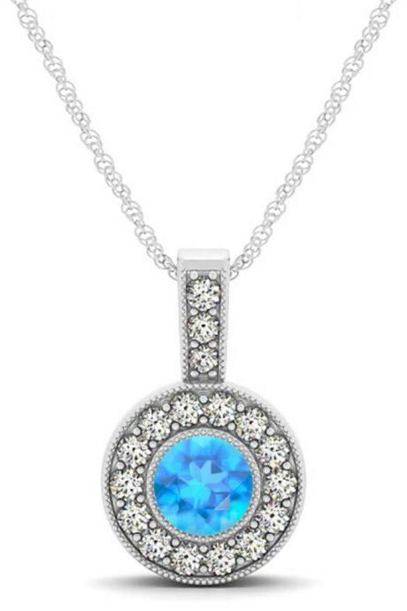 925 Sterling Silver Pendant With Genuine Natural Apatite 6mm Round Cut And White Topaz Gemstone Pendant