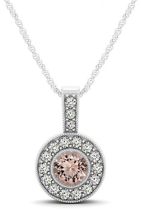 925 Sterling Silver Pendant With Genuine Natural Morganite 6mm Round Cut And White Topaz Gemstone Pendant