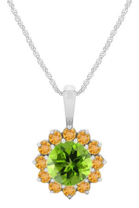 925 Sterling Silver Pendant Natural Citrine 6mm Round Cut With Paridot Gemstone Pendant