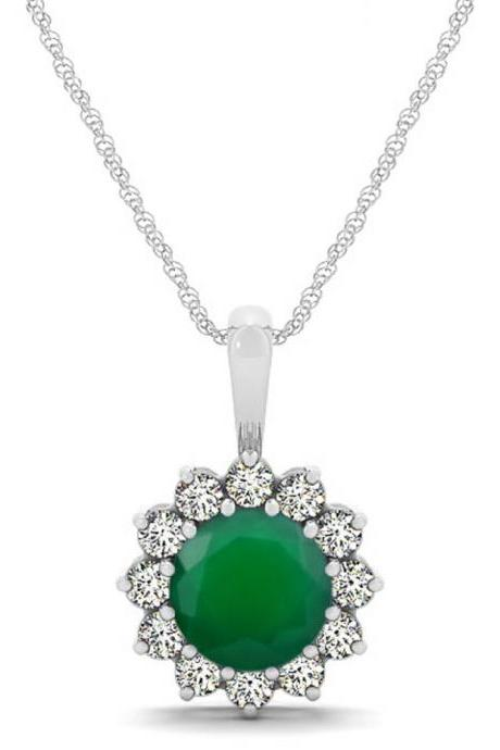 925 Sterling Silver Pendant Natural Green Onyx 6mm Round Cut And White Topaz Gemstone Pendant