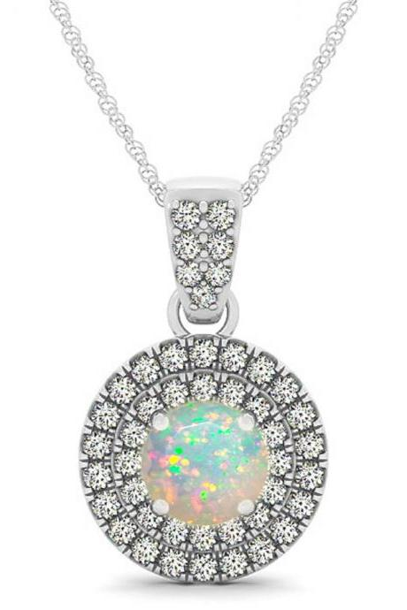 925 Silver Natural Ethiopian Opal 6mm Round And White Topaz Gemstone Pendant