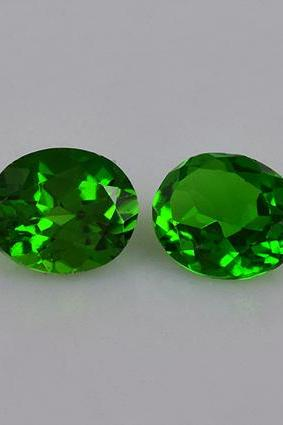 Natural Chrome Diopside 7x5mm 2 Pieces Faceted Cut Round Green Color - Natural Loose Gemstone