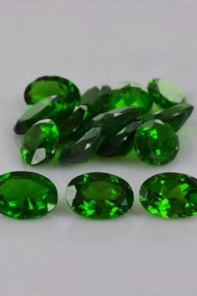 Natural Chrome Diopside 7x5mm 10 Pieces Lot Faceted Cut Round Green Color - Natural Loose Gemstone