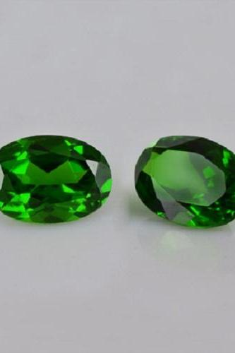 Natural Chrome Diopside 6x8mm 2 Pieces Faceted Cut Round Green Color - Natural Loose Gemstone
