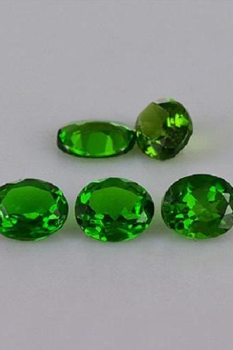 Natural Chrome Diopside 6x8mm 10 Pieces Lot Faceted Cut Round Green Color - Natural Loose Gemstone