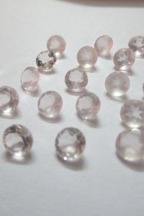Natural Rose Quartz - 3mm 100 Pieces Lot Faceted Cut Round Pink Color - Natural Loose Gemstone