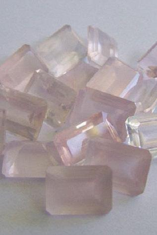 Natural Rose Quartz - 8x6mm 10 Pieces Lot Faceted Cut Octagon Pink Color - Natural Loose Gemstone