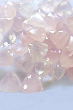 Natural Rose Quartz - 5mm 100 Pieces Lot Faceted Cut Trillion Pink Color - Natural Loose Gemstone