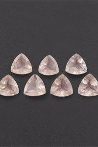 Natural Rose Quartz - 6mm 10 Pieces Lot Faceted Cut Trillion Pink Color - Natural Loose Gemstone