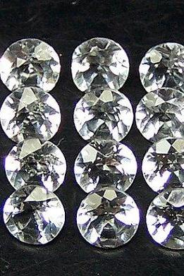 Natural White Topaz Calibrated Size 8mm 5 Pieces Lot Faceted Cut Round Natural - Loose Gemstone
