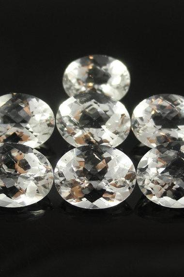 Natural White Topaz Calibrated Size 8x6mm 10 Pieces Lot Faceted Cut Oval Natural - Loose Gemstone