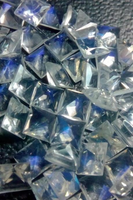 Natural Rainbow Moonstone 6mm 25 Pieces Lot Faceted Cut Square Top Quality Blue Power - Loose Gemstone