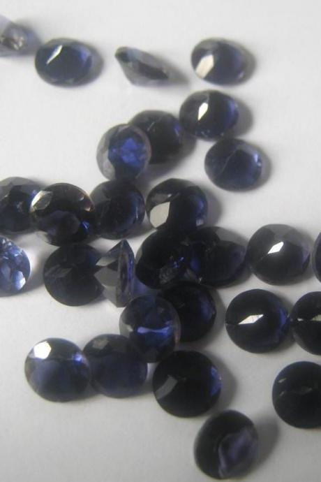 Natural Iolite 5mm 25 Pieces Lot Faceted Cut Round Blue Color - Natural Loose Gemstone