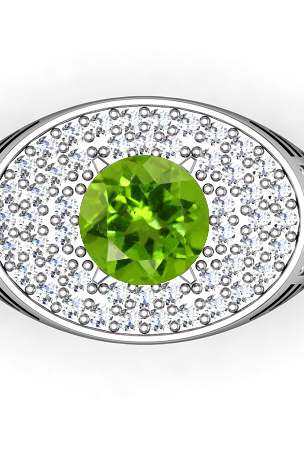 925 Solid Silver Ring Natural Peridot 6mm Faceted Cut Round Green Color With White Topaz Gemstone Ring