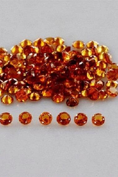 2mm Natural Hessonite Garnet - Faceted Cut Round 25 Pieces Lot Top Quality Brown Red Color - Loose Gemstone Wholesale Lot For Sale