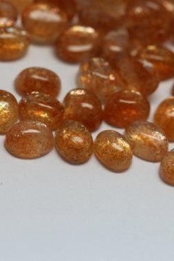 6x8mm Natural SunStone - Cabochon Cut Oval 5 Pieces Lot Top Quality Orange Color - Loose Gemstone Wholesale Lot For Sale