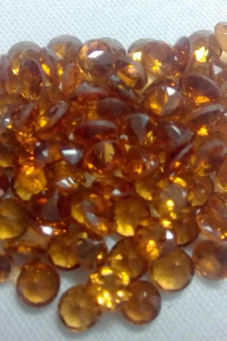 2.5mm Natural Hessonite Garnet - Faceted Cut Round 5 Pieces Lot Top Quality Brown Red Color - Loose Gemstone Wholesale Lot For Sale