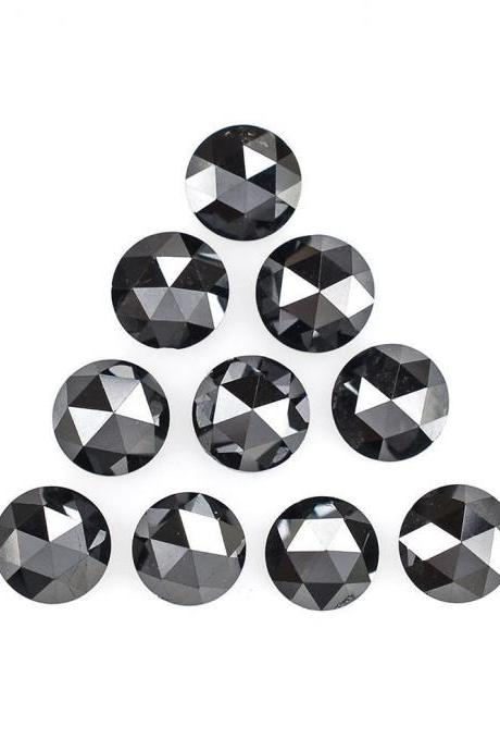 5mm Natural Black Diamond - Rose Cut Round 2 Pieces Top Quality Black Color - Loose Gemstone Wholesale Lot For Sale