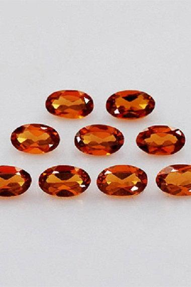 5x3mm Natural Hessonite Garnet - Faceted Cut Oval 10 Pieces Top Quality Brown Red Color - Loose Gemstone Wholesale Lot For Sale