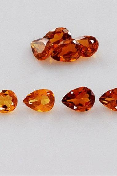 7x5mm Natural Hessonite Garnet - Faceted Cut Pear 5 Pieces Top Quality Brown Red Color - Loose Gemstone Wholesale Lot For Sale