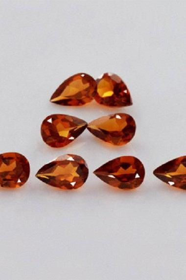 7x5mm Natural Hessonite Garnet - Faceted Cut Pear 10 Pieces Top Quality Brown Red Color - Loose Gemstone Wholesale Lot For Sale
