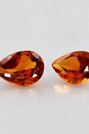 7x9mm Natural Hessonite Garnet - Faceted Cut Pear 2 Pieces Top Quality Brown Red Color - Loose Gemstone Wholesale Lot For Sale