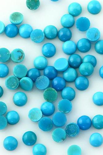 Natural Turquoise 6mm Cabochon Round 25 Pieces Lot Turquoise Color Top Quality - Natural Loose Gemstone Wholesale Lot For Sale