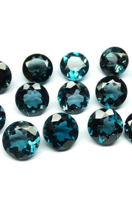 7mm Natural London Blue Topaz Faceted Cut Round 25 Pieces Top Quality Blue Color - Loose Gemstone Wholesale Lot For Sale