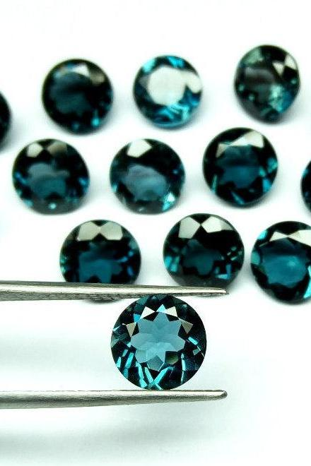 8mm Natural London Blue Topaz Faceted Cut Round 25 Pieces Top Quality Blue Color - Loose Gemstone Wholesale Lot For Sale