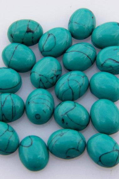 Natural Turquoise 8x6mm Cabochon Oval 10 Pieces Lot Turquoise Color Top Quality - Natural Loose Gemstone Wholesale Lot For Sale