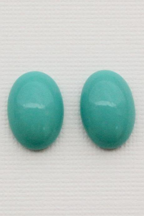 Natural Turquoise 9x11mm Cabochon Oval 2 Pieces Lot Turquoise Color Top Quality - Natural Loose Gemstone Wholesale Lot For Sale