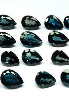 7x5mm Natural London Blue Topaz Faceted Cut Pear 2 Pieces Top Quality Blue Color - Loose Gemstone Wholesale Lot For Sale