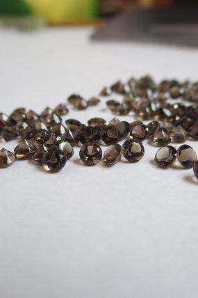 Natural Smoky Quartz 2.25mm Faceted Cut Round 10 Pieces Lot Brown Color Top Quality - Natural Loose Gemstone Wholesale Lot For Sale