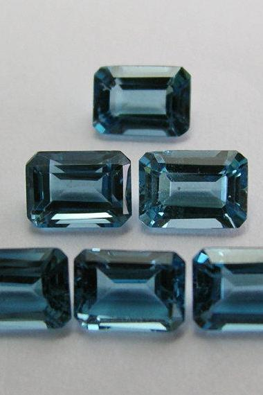 8x10mm Natural London Blue Topaz Faceted Cut Octagon 2 Pieces Top Quality Blue Color - Loose Gemstone Wholesale Lot For Sale
